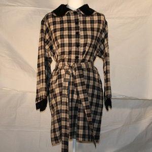 Vintage Saint Laurent plaid belted dress, size 8
